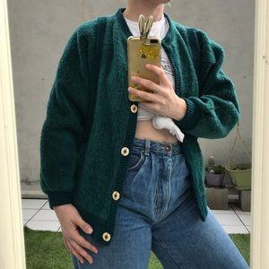 vtg emerald green teddy fuzzy button front jacket